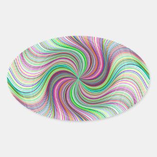 Adesivo Oval Roda colorida do redemoinho de prisma do arco-íris