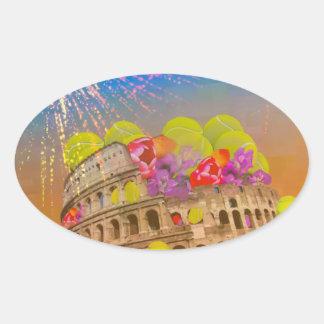 Adesivo Oval Roma comemora a estação com bolas de tênis, flores