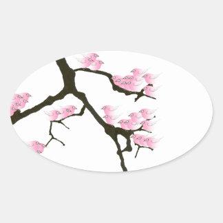 Adesivo Oval sakura com os pássaros cor-de-rosa por fernandes