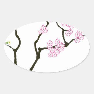 Adesivo Oval sakura com pássaro verde, fernandes tony
