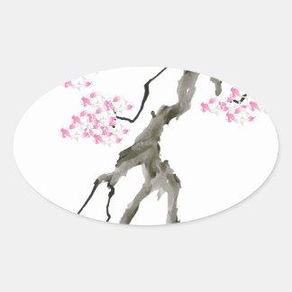 Adesivo Oval sakura com peixe dourado cor-de-rosa, fernandes