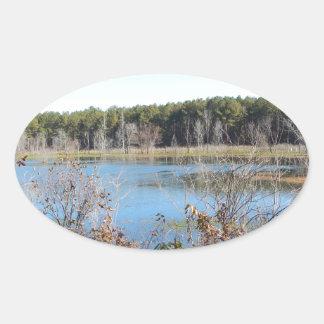 Adesivo Oval Santuário de pássaro do lago sams