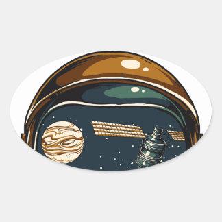 Adesivo Oval satélite da NASA e a lua