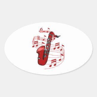 Adesivo Oval Saxofone vermelho com notas da música