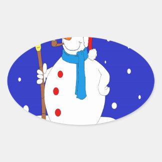 Adesivo Oval Seguro-Neve-Homem-Cena