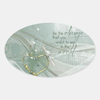 Adesivo Oval Seja a mudança, fita do coração do ouro, diploma,