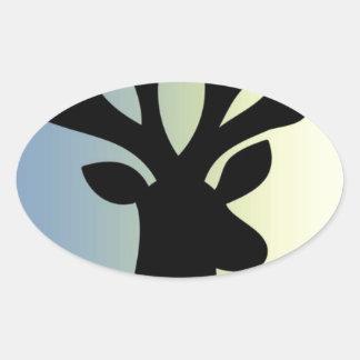 Adesivo Oval Seja sombra brava da cabeça dos cervos
