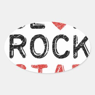 Adesivo Oval Seja uma estrela do rock
