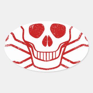 Adesivo Oval Selo vermelho da tinta do veneno