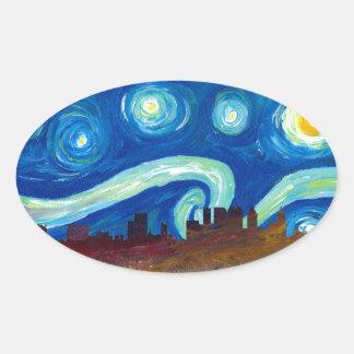 Adesivo Oval Silhueta da skyline de Atlanta com noite estrelado