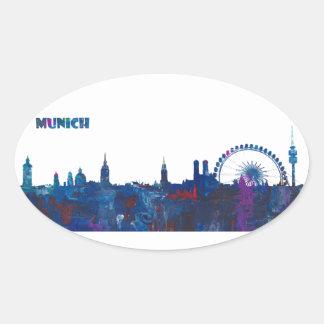 Adesivo Oval Silhueta da skyline de Munich