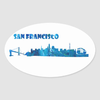 Adesivo Oval Silhueta da skyline de San Francisco