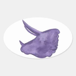 Adesivo Oval Silhueta roxa do Triceratops