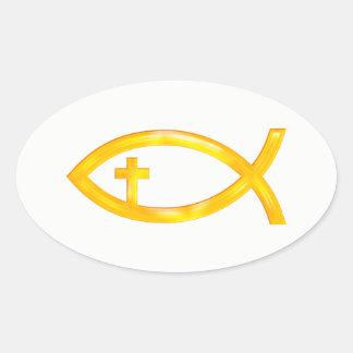 Adesivo Oval Símbolo cristão dourado dos peixes com crucifixo