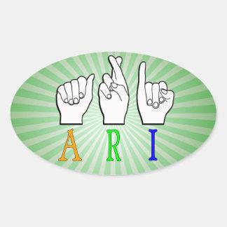 ADESIVO OVAL SINAL CONHECIDO DE ARI FINGERSPELLED ASL SURDO