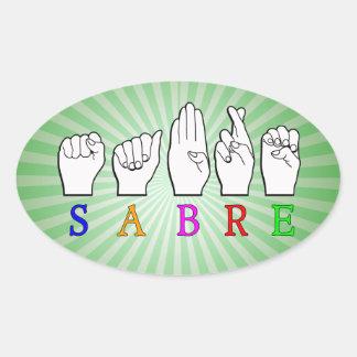 ADESIVO OVAL SINAL CONHECIDO SURDO DO SABRE FINGERSPELLED ASL