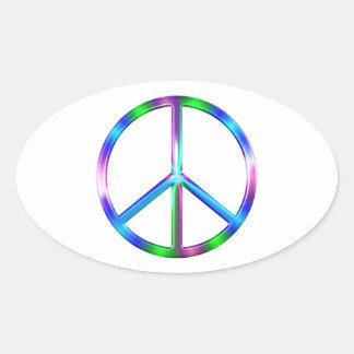 Adesivo Oval Sinal de paz colorido brilhante