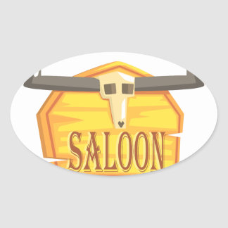 Adesivo Oval Sinal do bar com o desenho da cabeça inoperante