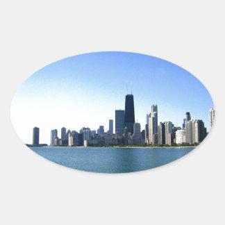 Adesivo Oval Skyline de Chicago