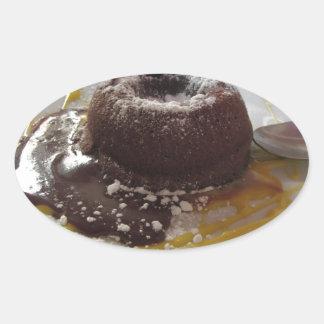Adesivo Oval Sobremesa morna do bolo da lava do fundente do