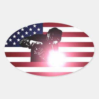 Adesivo Oval Soldador e bandeira americana