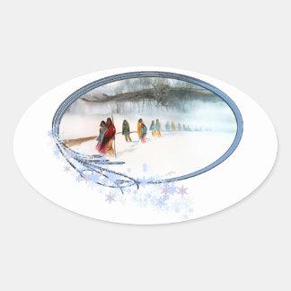 Adesivo Oval Sombra da coruja na fuga dos rasgos
