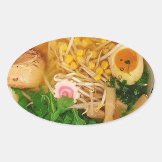 Adesivo Oval Sopa de macarronete dos Ramen da carne de porco