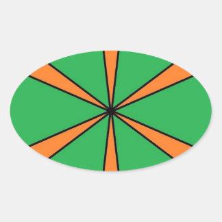 Adesivo Oval starbursts alaranjados
