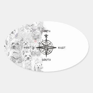 Adesivo Oval Sudeste norte & cão de Westie