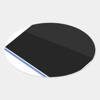 Adesivo Oval Tabuleta no suporte e na caneta digital