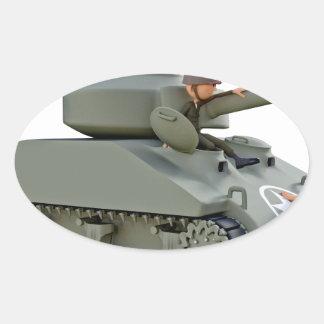Adesivo Oval Tanque e soldados dos desenhos animados na