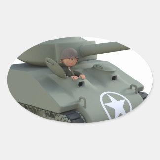 Adesivo Oval Tanque e soldados dos desenhos animados que vão