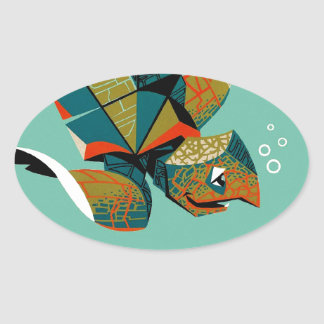 Adesivo Oval Tartaruga de mar australiana animador