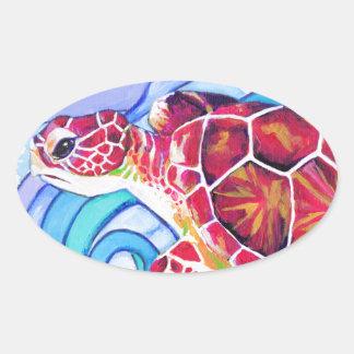 Adesivo Oval Tartaruga de Surfin