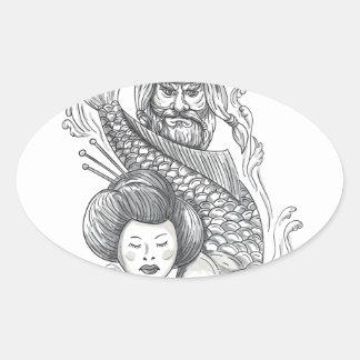 Adesivo Oval Tatuagem da cabeça da gueixa da carpa de Viking