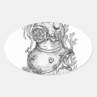 Adesivo Oval Tatuagem do capacete do mergulho da velha escola