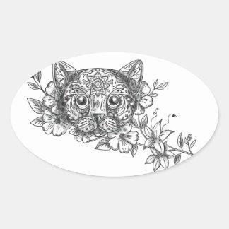 Adesivo Oval Tatuagem principal da flor do jasmim do gato
