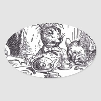 Adesivo Oval Tea party louco do Hatter