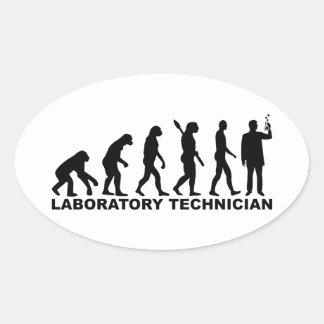 Adesivo Oval Técnico de laboratório da evolução