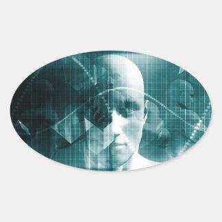 Adesivo Oval Tecnologia futurista da ciência médica como uma