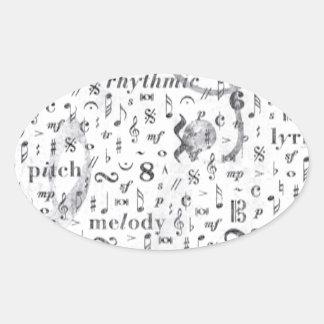 Adesivo Oval Tema da música do teste padrão da nota da música