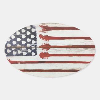Adesivo Oval Tema patriótico da música da guitarra da bandeira