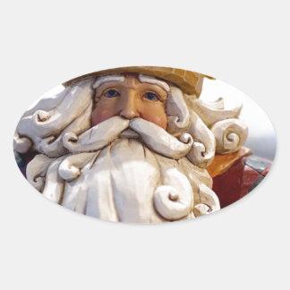 Adesivo Oval Tempo do Natal do Natal de Papai Noel Nicholas