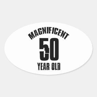 Adesivo Oval TENDENDO o DESIGN do ANIVERSÁRIO das pessoas de 50