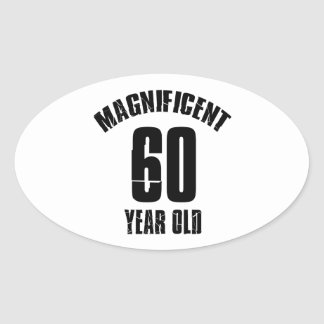 Adesivo Oval TENDENDO o DESIGN do ANIVERSÁRIO das pessoas de 60