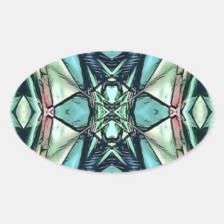 Adesivo Oval Teste padrão artístico do pêssego moderno do Lilac