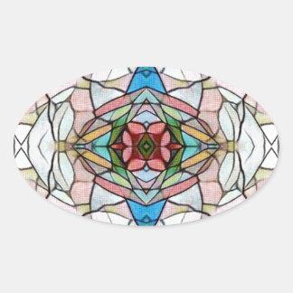 Adesivo Oval Teste padrão artístico raro bonito do vitral