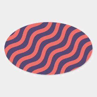 Adesivo Oval Teste padrão de onda geométrico abstrato