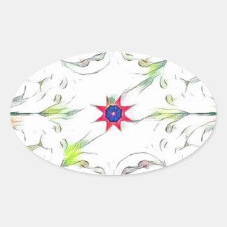 Adesivo Oval teste padrão do lenço do primavera do vintage