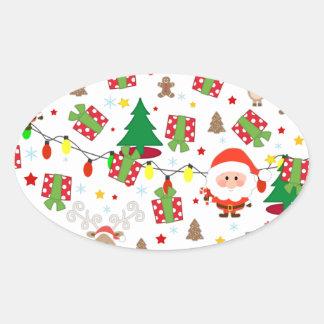 Adesivo Oval Teste padrão do papai noel e do Rudolph